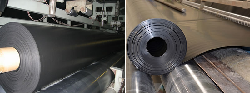 A roll of black HDPE geomembrane is on the produce machine.