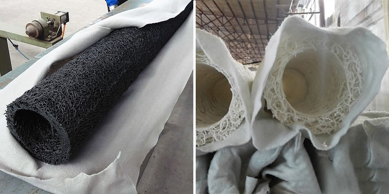 Two workers are packaging a black circular plastic blind drain with white geotextile.