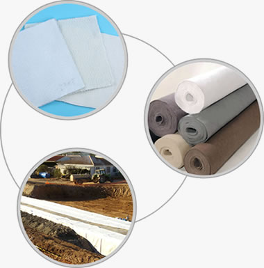 Long fiber geotextile fabric, short fiber geotextile fabric and its application.