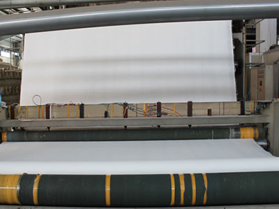 Long fiber geotextile fabric is produced by the machine.